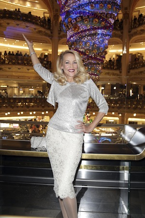 Jerry Hall Launches The Chrismas Lights At Galeries Lafayette